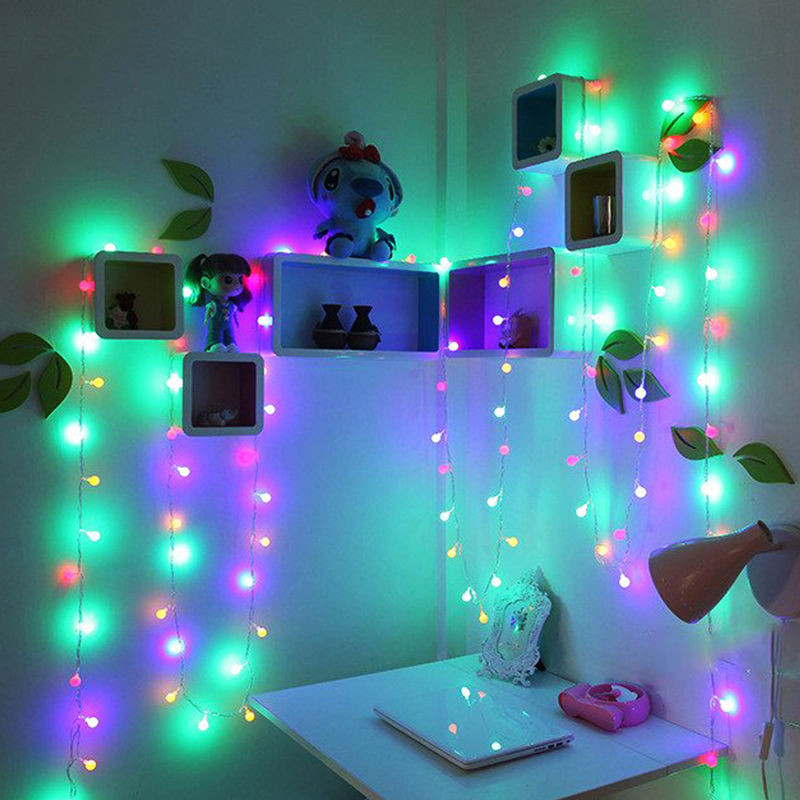2x weihnachten au en innen deko lichterkette kugeln bunt 50 leds beleuchtung ebay. Black Bedroom Furniture Sets. Home Design Ideas