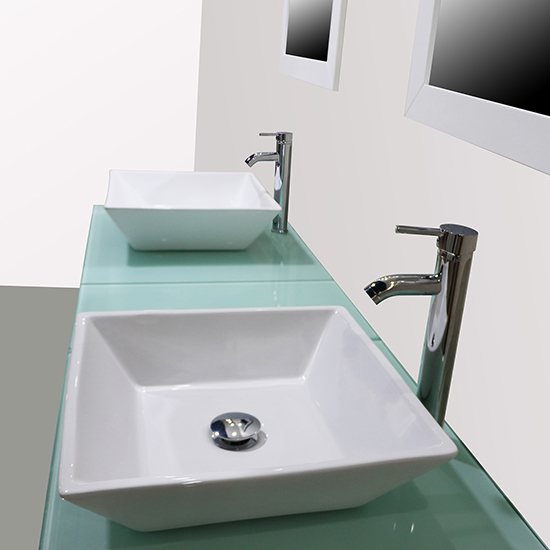 NEW 60 White Double Ceramic Vessel Sink Faucet Bathroom Vanity Cabinet