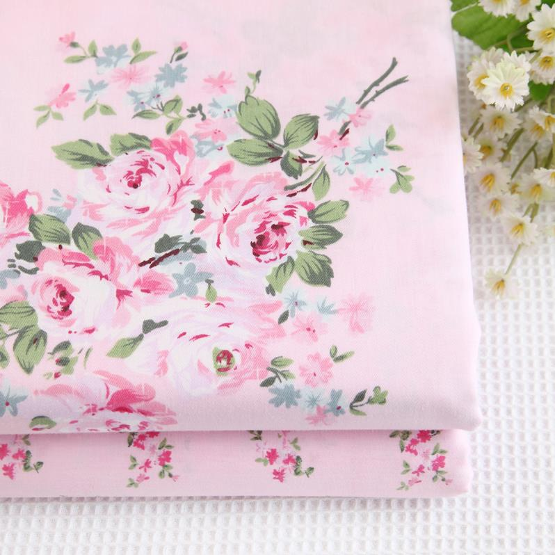 1 meter floral roses pink 100 cotton fabric shabby chic cottage fabric ebay. Black Bedroom Furniture Sets. Home Design Ideas