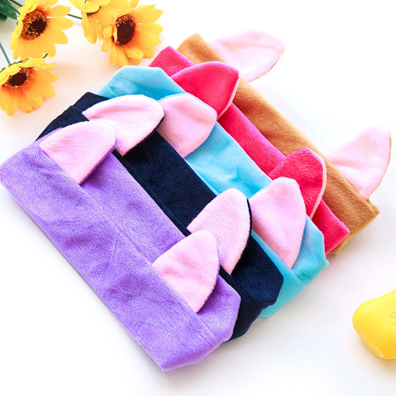cute cat rabbit ear shape soft towel hair band wrap headband bath spa make up ebay. Black Bedroom Furniture Sets. Home Design Ideas