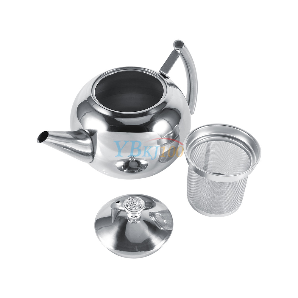 1500ml stainless steel teapot coffee pot tea leaf infuser strainer durable new ebay - Tea pots with infuser ...