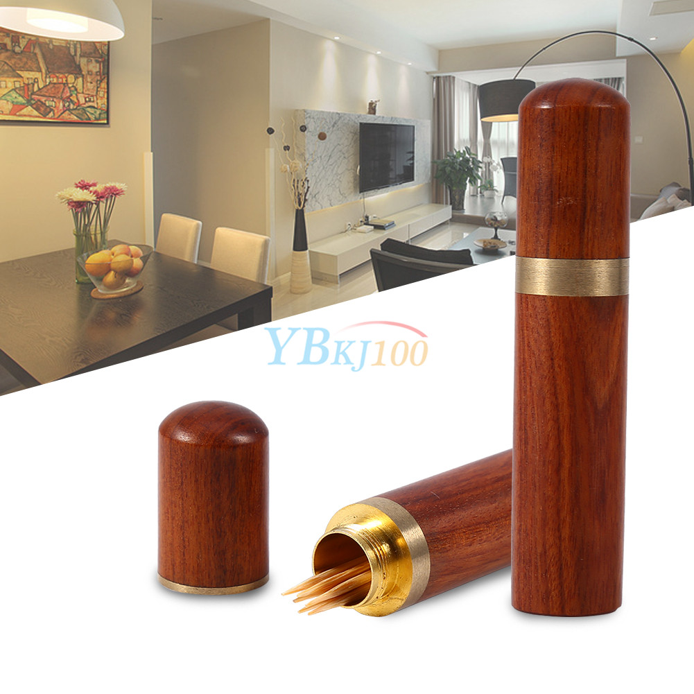 Portable rosewood wooden toothpick holder case capsule box home hiking travel ebay - Travel toothpick holder ...