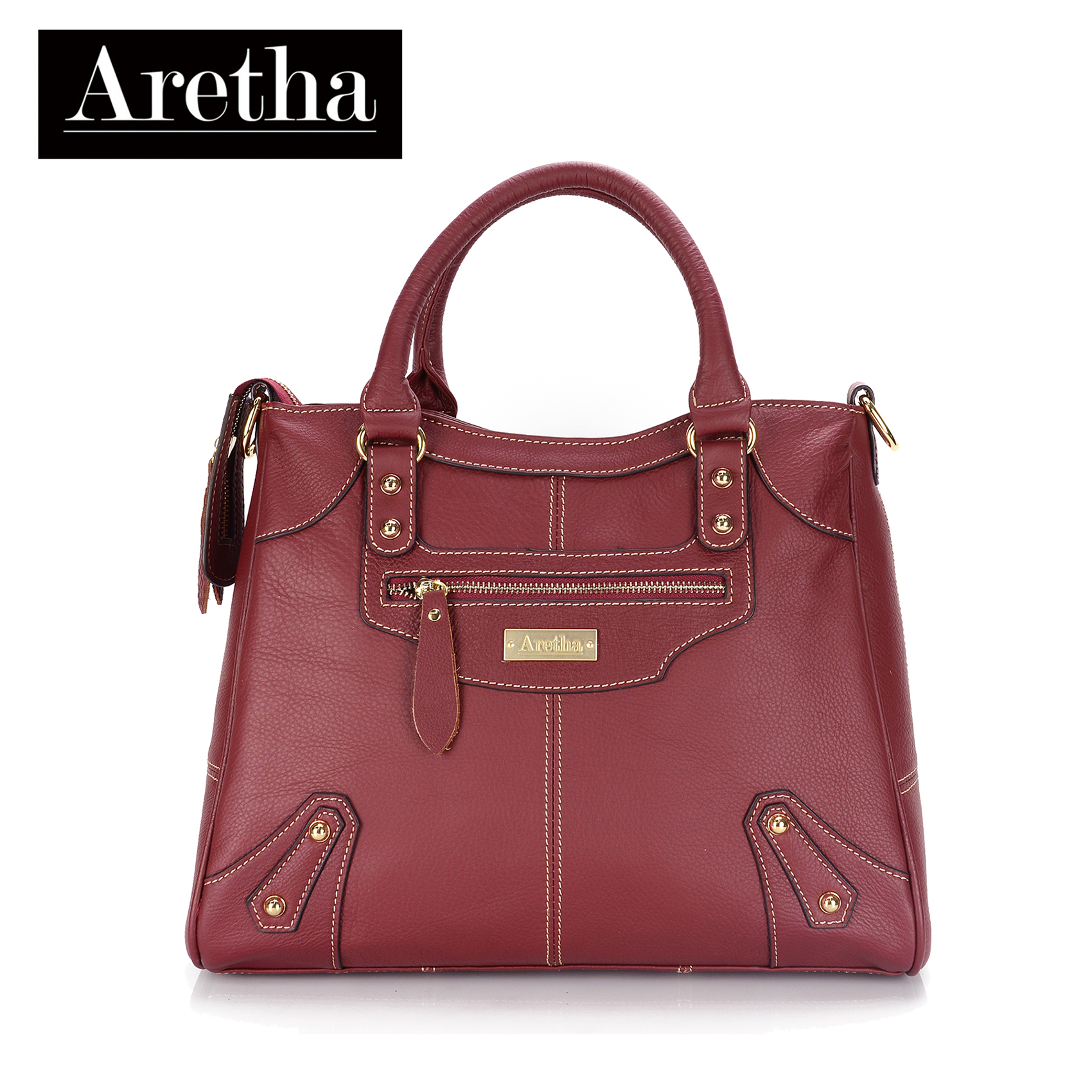 6328cad6e00 Details about Aretha Genuine Leather Women shoulder tote bag Fashion Red  Lady satchel Handbags