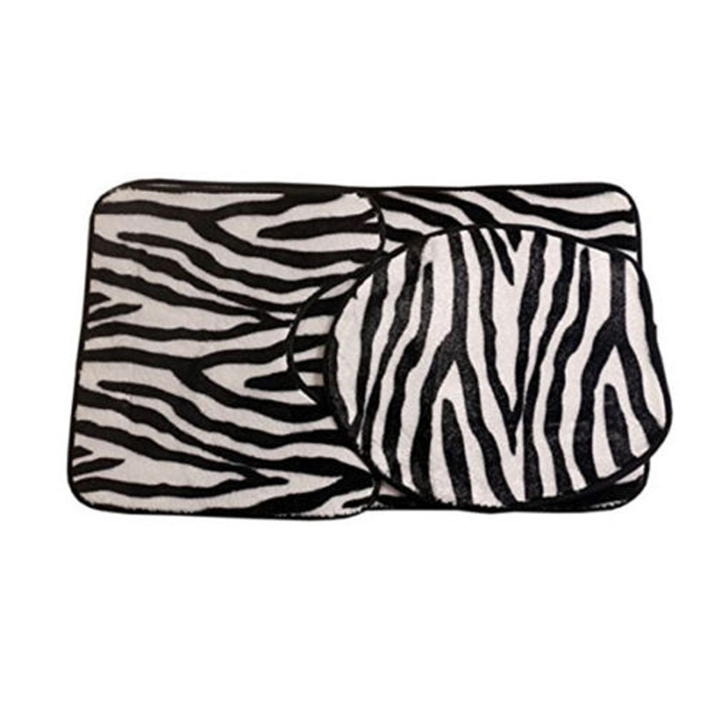 3Pcs Zebra Printed Carpet Toilet Seat Cover Mat Floor