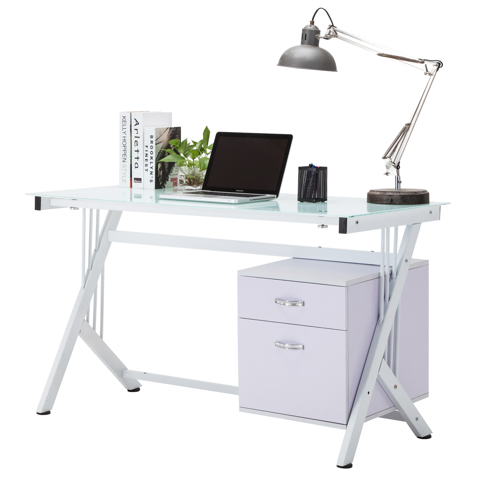 White computer desk pc table glass top cupboard home for Best home office pc uk