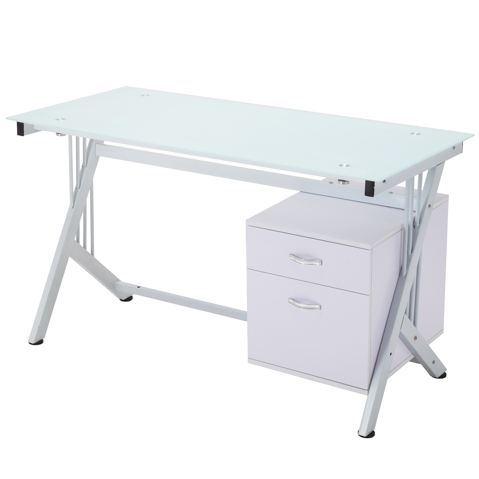 White computer desk pc table glass top cupboard home for Best workstation table