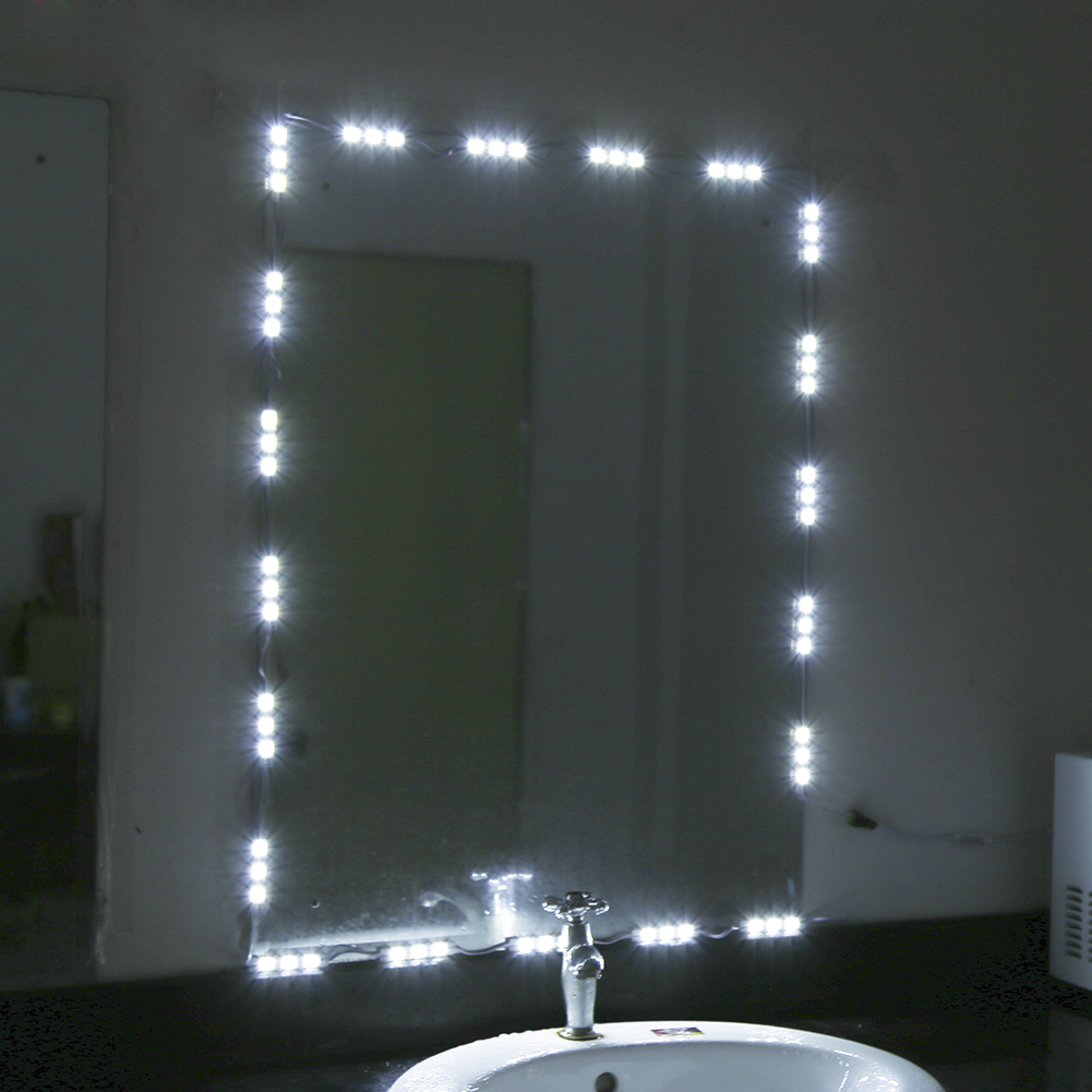 Vanity Lights Kit : White LED Light Strip Module Kit Dressing Makeup Cosmetic Vanity Mirror Light