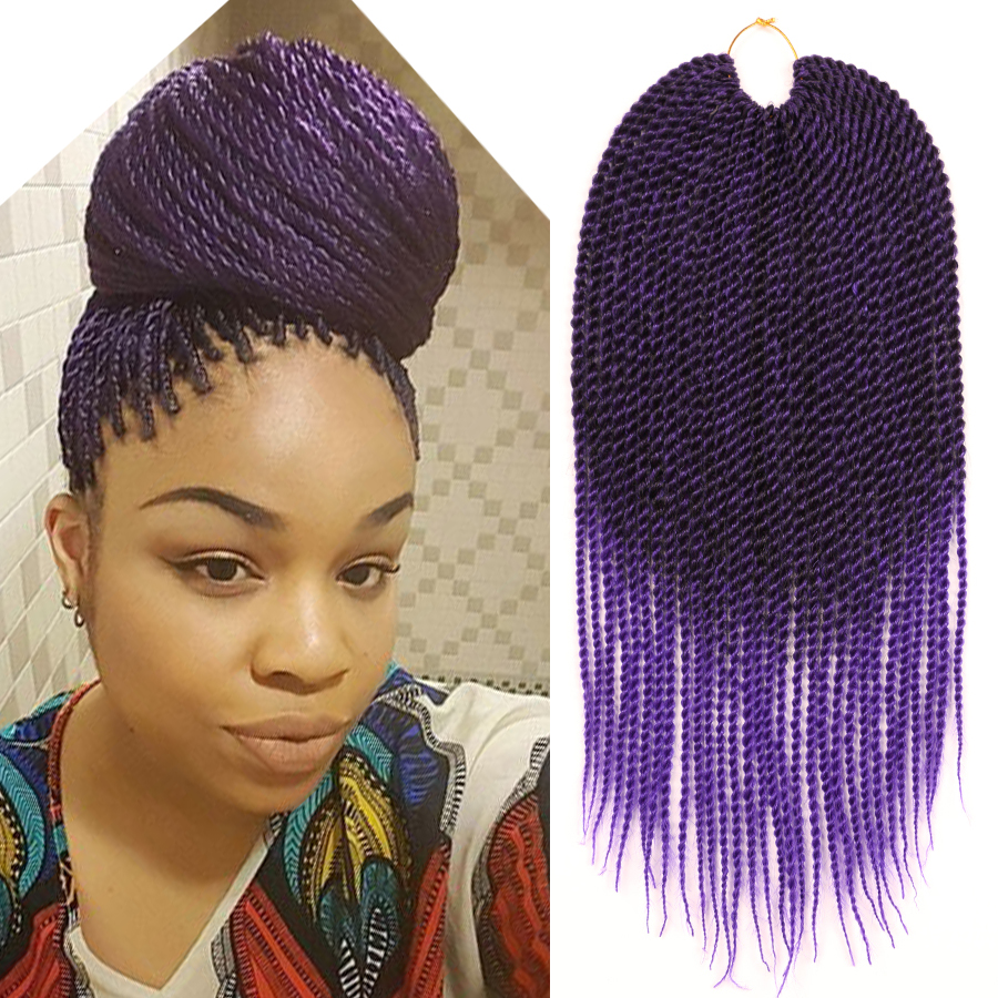 "18"" Ombre Purple Crochet Braids Kanekalon Braiding Hair ..."