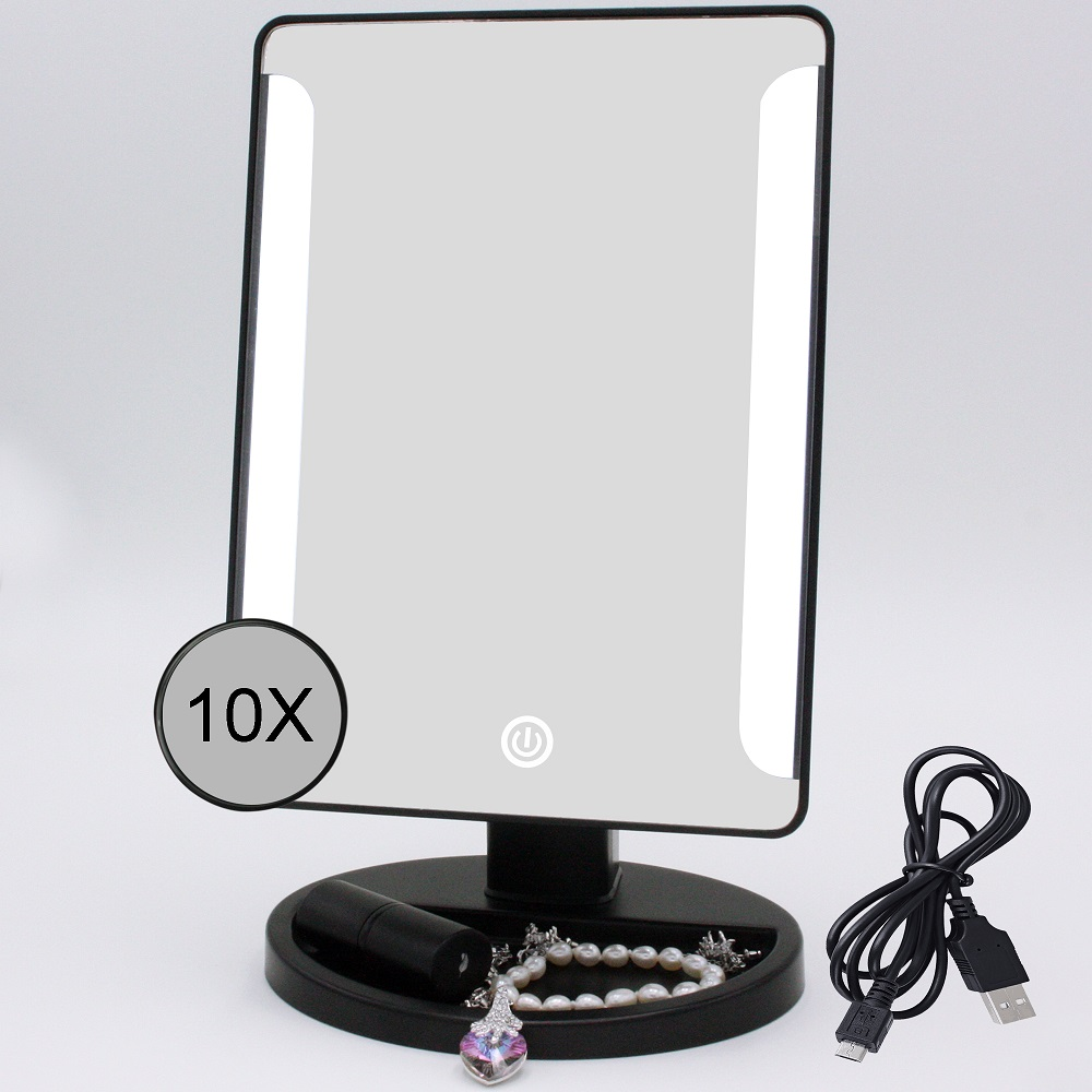 10X Magnifying MakeUp Stand Mirror Vanity Illuminated Desktop LED Lighted Mir