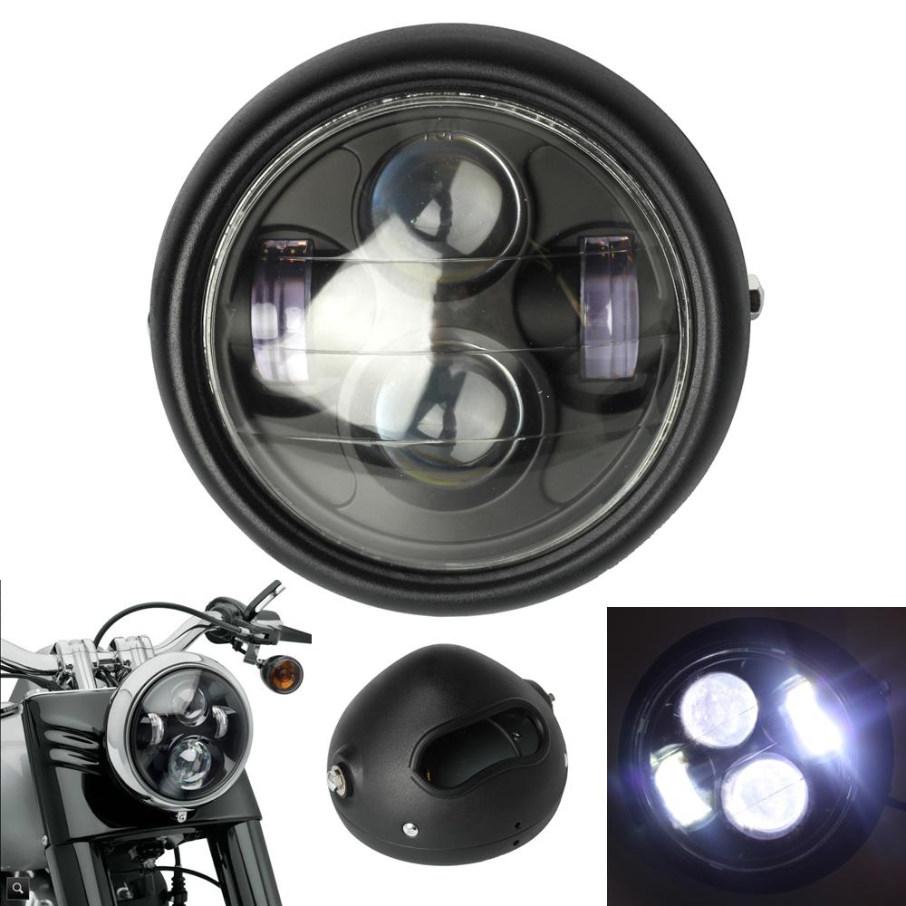 6 5 39 39 45w 4000lm moto noir phare projecteur led headlight lamp bobber chopper ebay. Black Bedroom Furniture Sets. Home Design Ideas