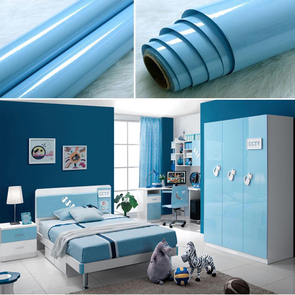 Blue Kitchen Contact Paper Gloss Units Cupboard Doors