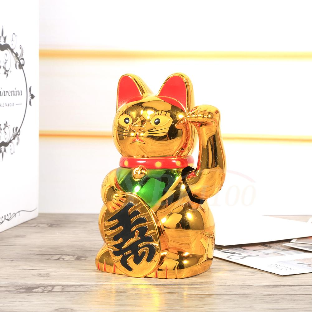 Lovely Waving Gold Cat With Moving Arm Feng Shui Car