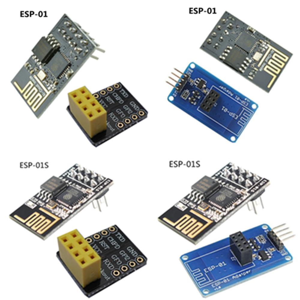 perfk 5pcs Esp-01 Serial Wireless WiFi Transceiver Module Breakout Breadboard Adapter