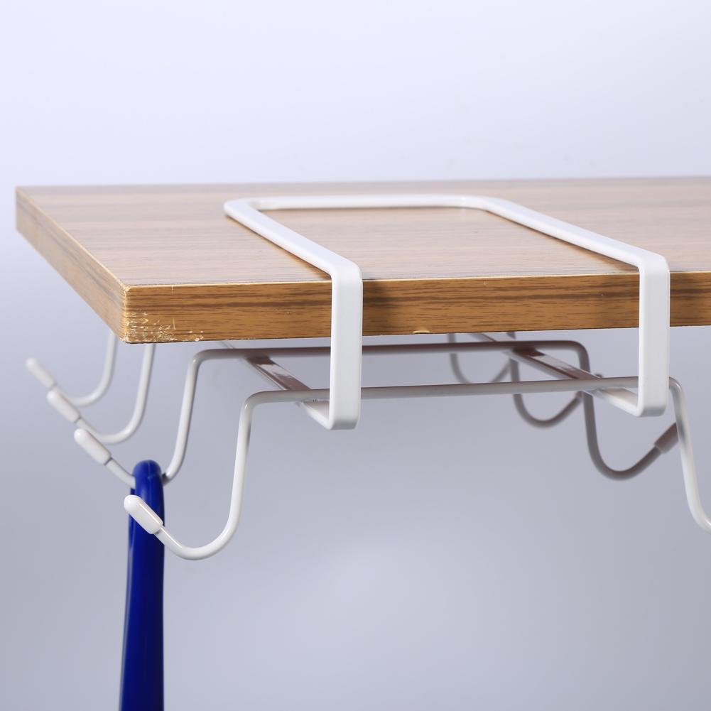 Metal Under Cabinet Storage Rack Shelf Organizer Kitchen: White Under Cabinet Shelf Cups Rack Metal Holder Hanging