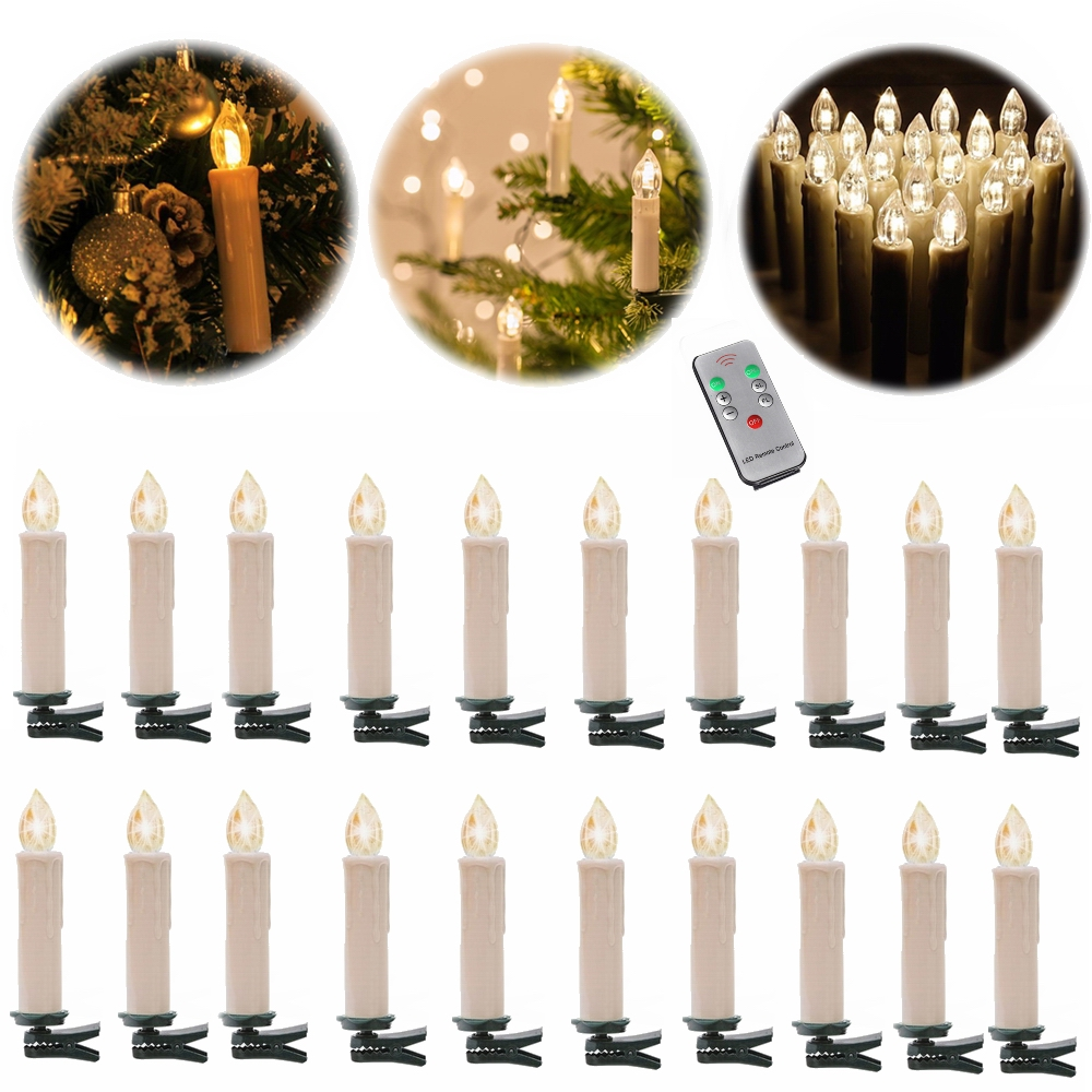 20er kabellose led weihnachtskerzen christbaum kerzen lichterkette fernbedienung ebay. Black Bedroom Furniture Sets. Home Design Ideas