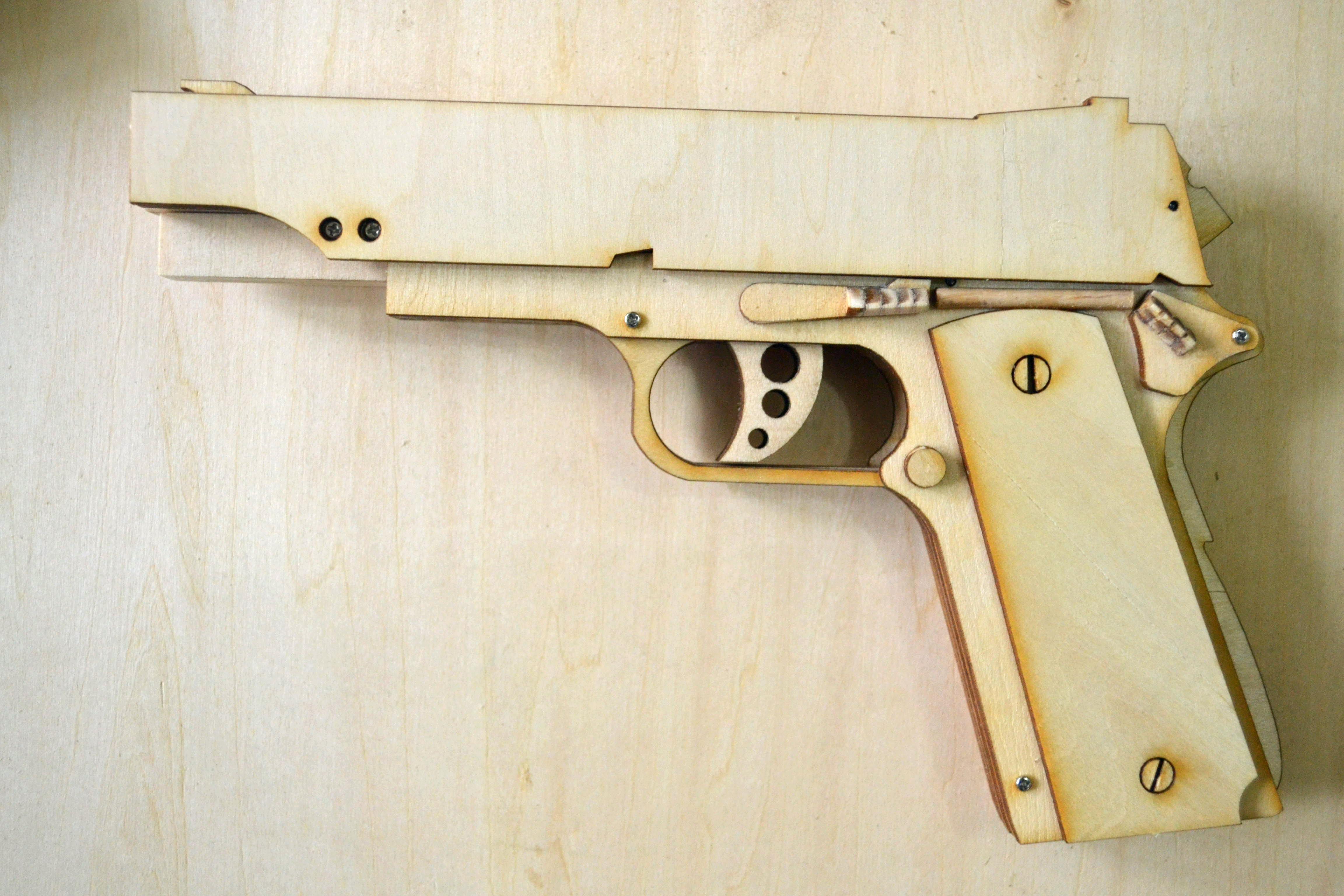 Wood Rubber Band Gun Assembly Guns Model Entertainment DIY ...