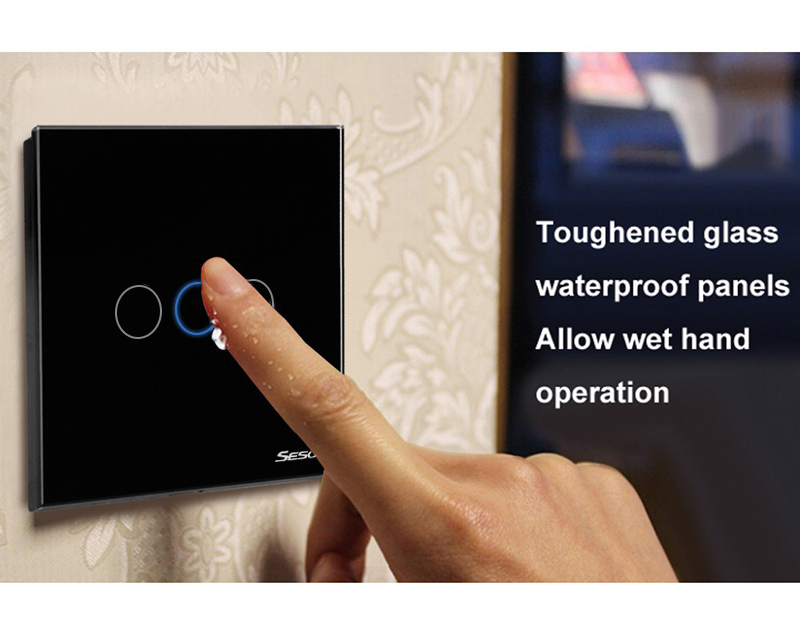 SESOO 1/2/3Gang Touch Light Wall Switch Glass Panel LED Backlight w ...