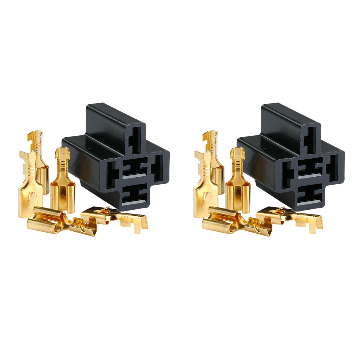 2x 80 Amp Relay Connector 5 Pin Relay Socket Harness with 5