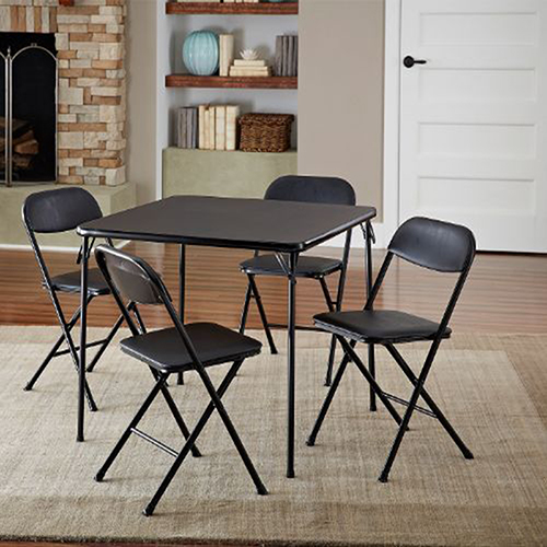 Card Square Dining Table And 4 Chairs Set Folding Padded