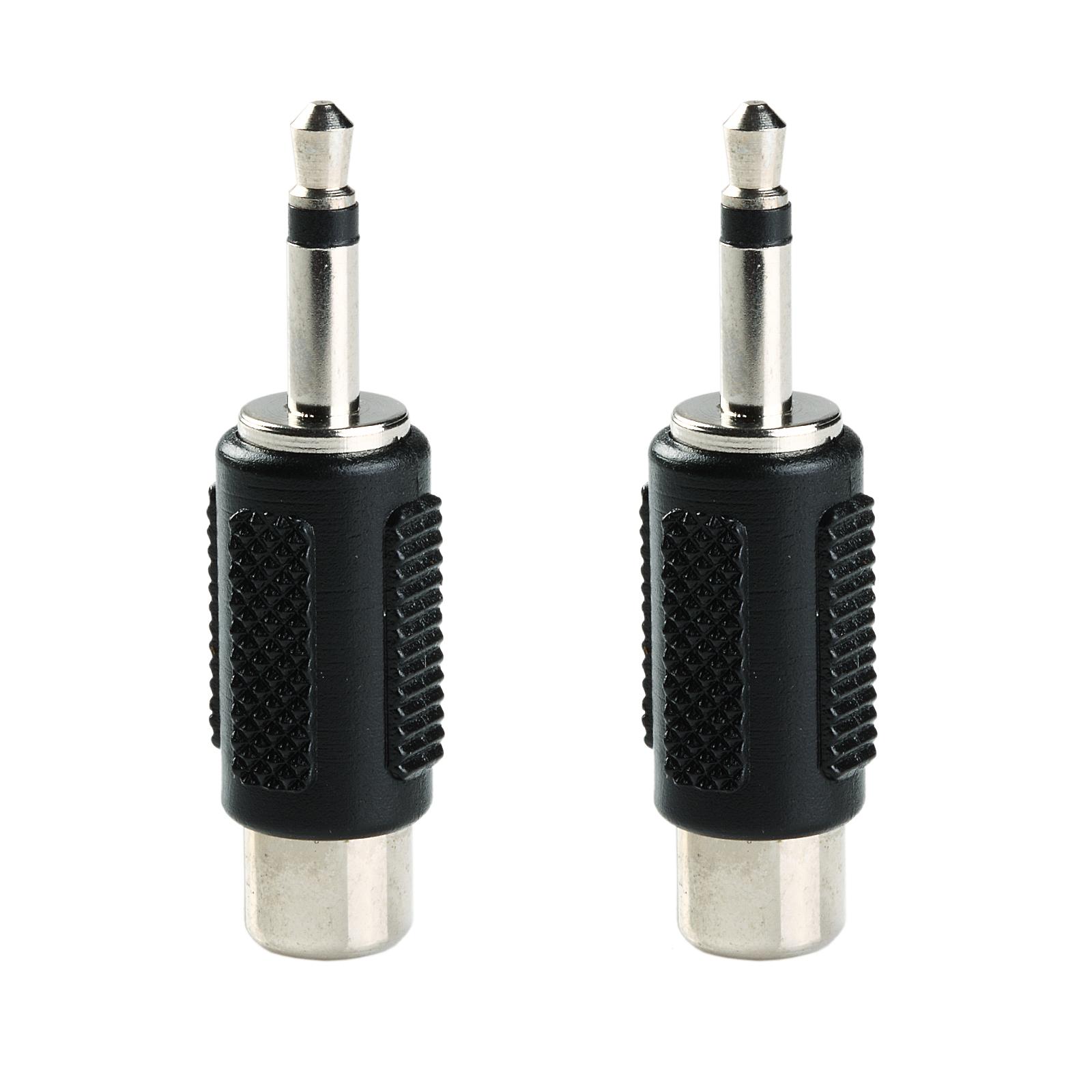 1 8 35mm Male Mono Phone Plug To Female Rca Phono Jack Adapter 2 Wiring 2pcs