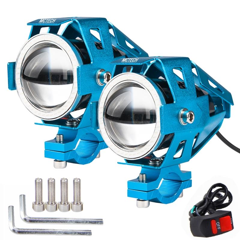led motorrad u7 125w scheinwerfer zusatzscheinwerfer lampe fernlicht 2er blau ebay. Black Bedroom Furniture Sets. Home Design Ideas