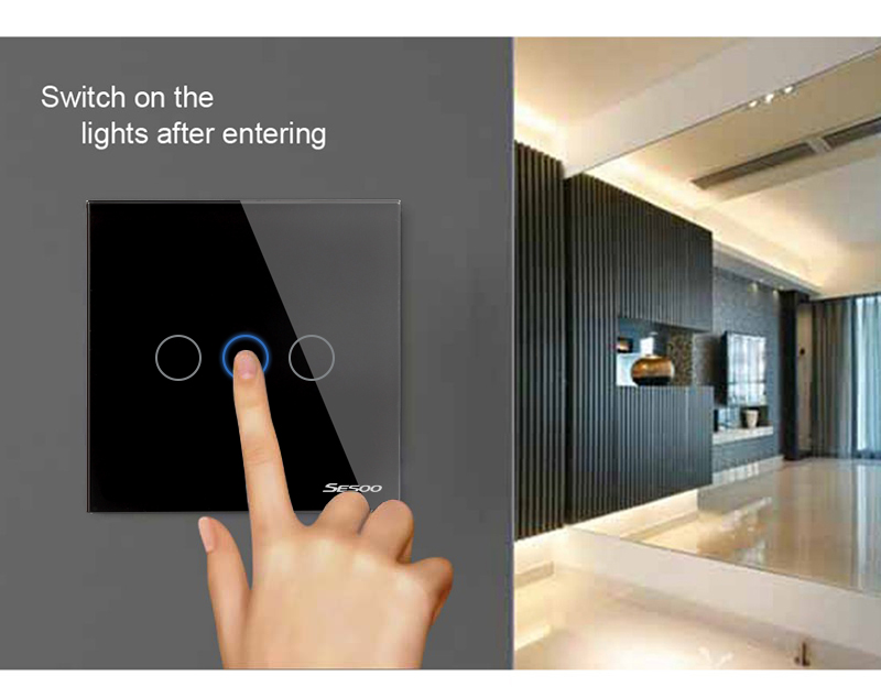 Sesoo 123gang touch light wall switch glass panel led backlight w sesoo 1 2 3gang touch light wall switch mozeypictures Gallery