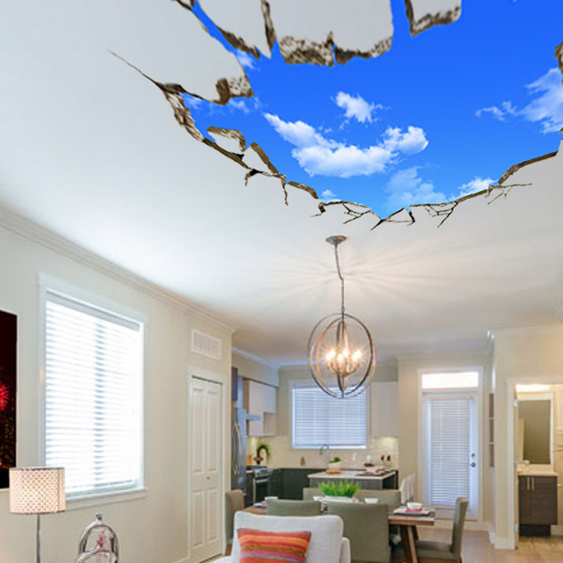 novelty 3d blue sky broken floor ceiling mural removable wall