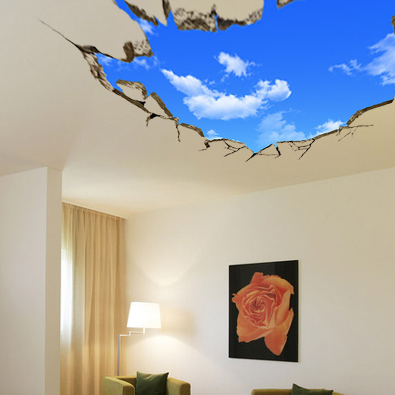 3d blue sky wall sticker background ceiling wall paper mural decor