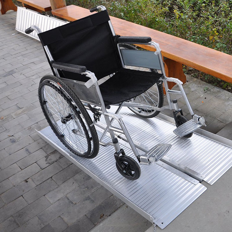 Folding Portable Wheelchair Ramp : Tenive folding mobility wheelchair scooter threshold