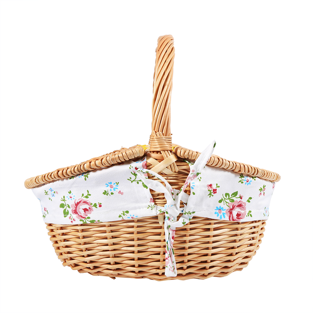Wicker Baskets With Handles And Lid : Wicker camping picnic basket ping storage hamper with