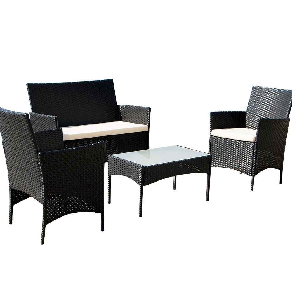 4pcs Outdoor Black Rattan Wicker Sofa Set Cushioned Garden Patio Furniture