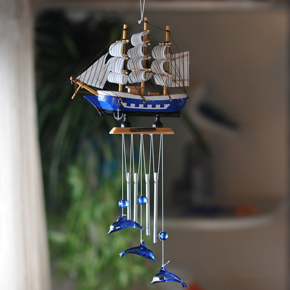 Nautical Style Sailing Boat Dolphin Wind Chimes Metal Tube