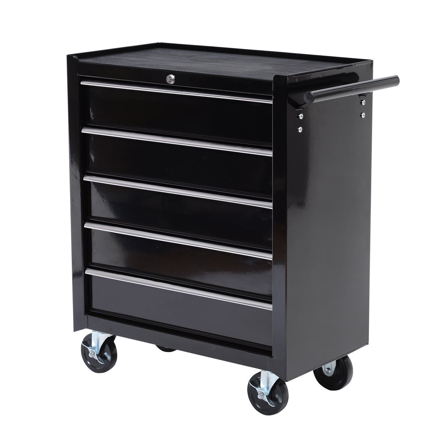 rolling toolbox 5 drawers lock storage tool cabinet chest cart casters black ebay. Black Bedroom Furniture Sets. Home Design Ideas