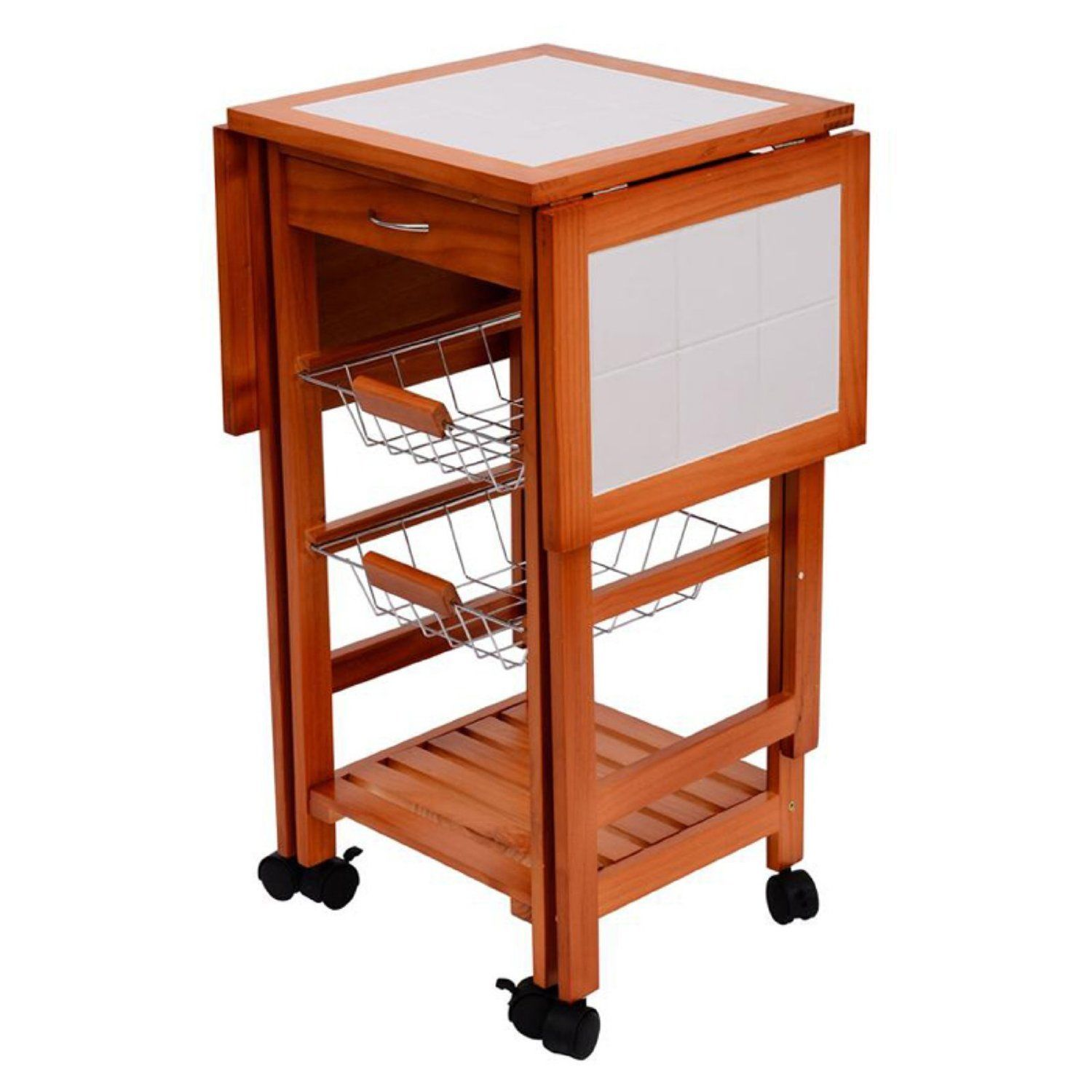 Portable Folding Wood Rolling Kitchen Island Trolley Cart Drop Leaf Top Storage 701698138258 Ebay