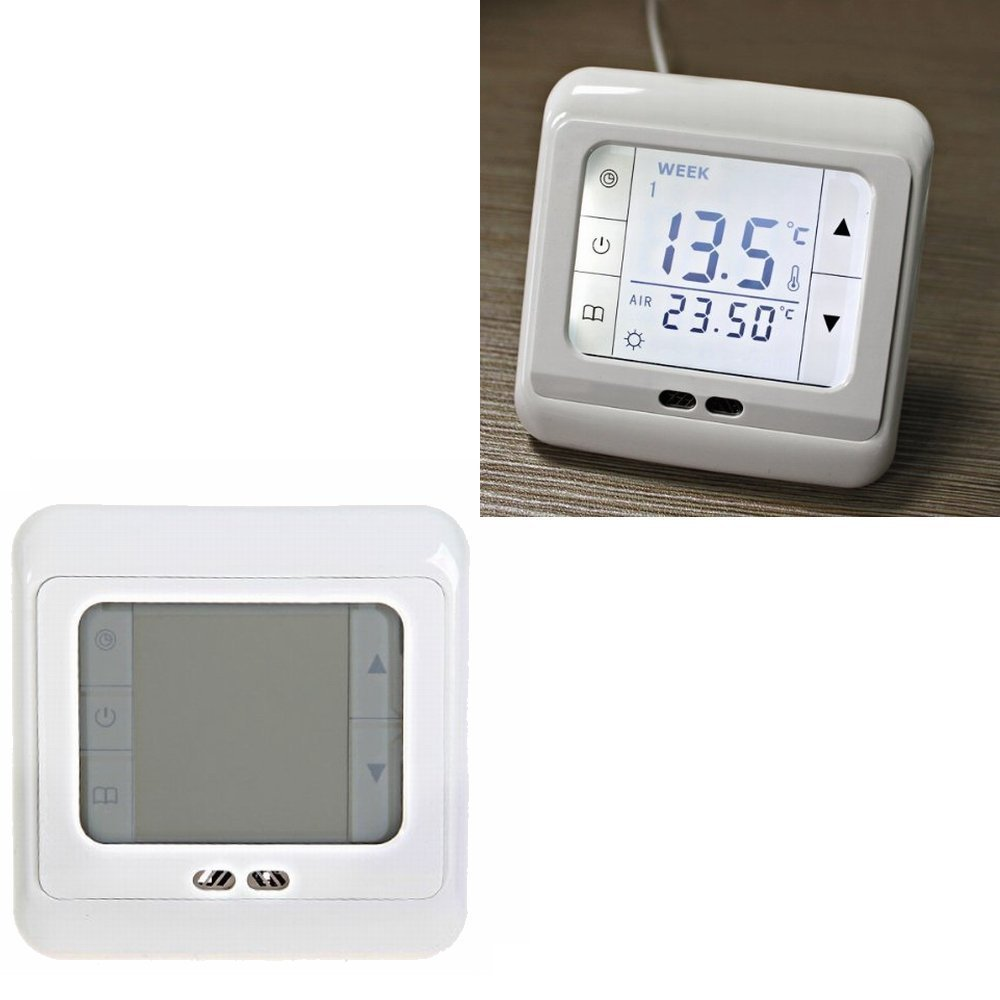 4x digital thermostat raumtemperaturregler fu bodenheizung lcd touchscreen wei ebay. Black Bedroom Furniture Sets. Home Design Ideas