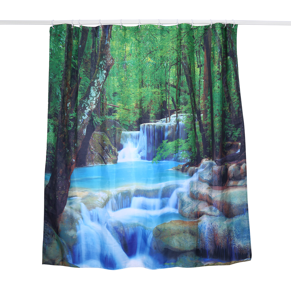 180x180cm 3D Waterfall Scenery Waterproof Fabric Shower Curtain ...