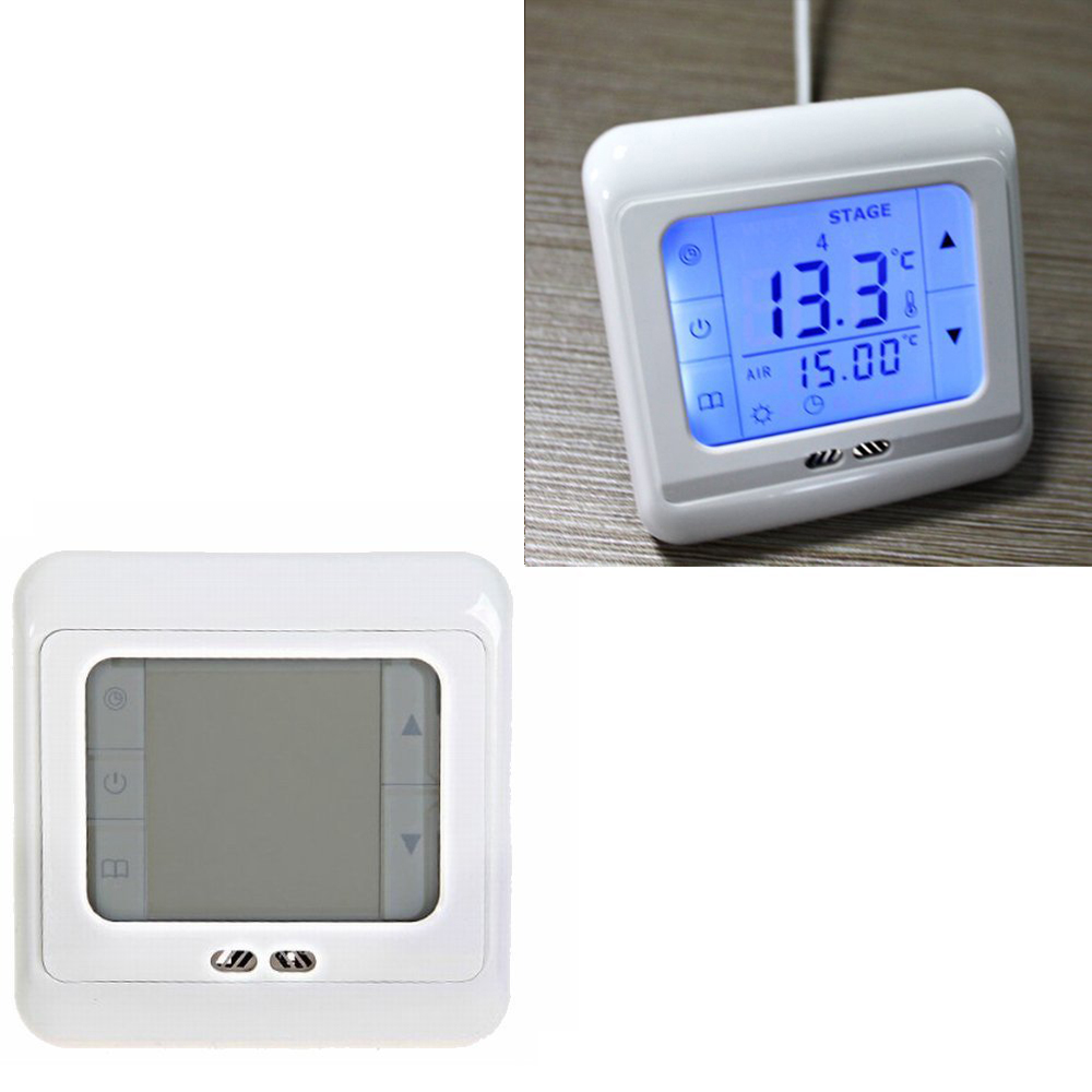 4x digital raumtemperaturregler thermostat fu bodenheizung lcd touchscreen blau ebay. Black Bedroom Furniture Sets. Home Design Ideas