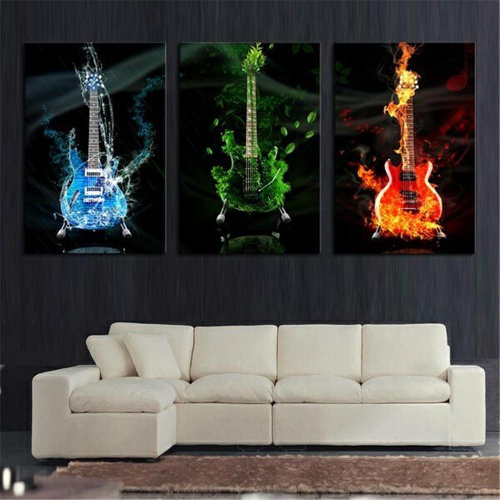 3pcs unframed modern dancing guitar canvas painting wall art picture home decor ebay - Decor art quadri bari ...