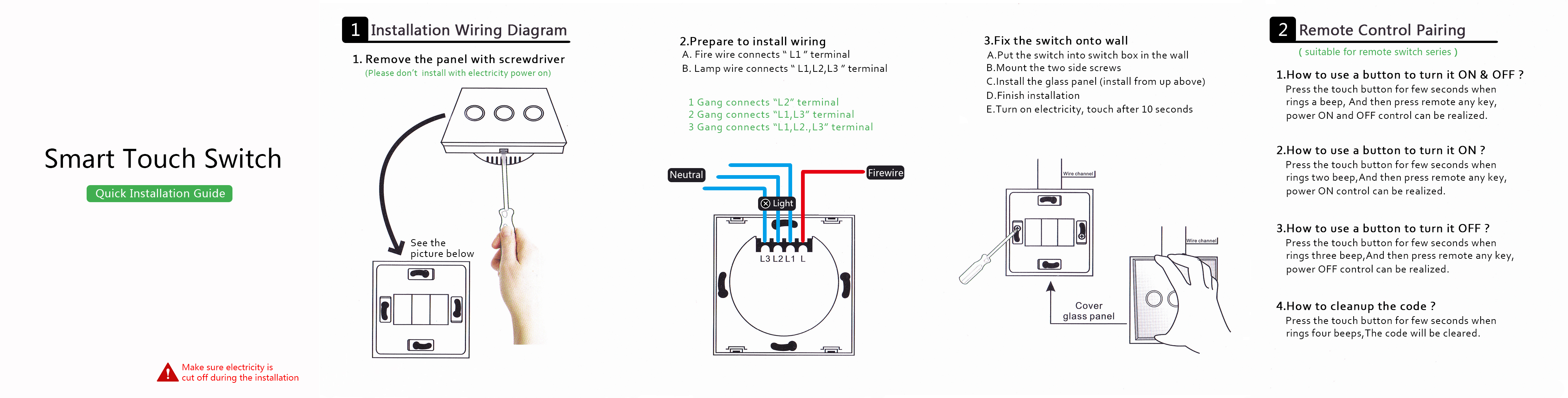Sesoo Wall Pad Glass Panel 1 2 3 Gang Rf Remote Touch Light Switch Double Wiring Diagram Of Descriptions