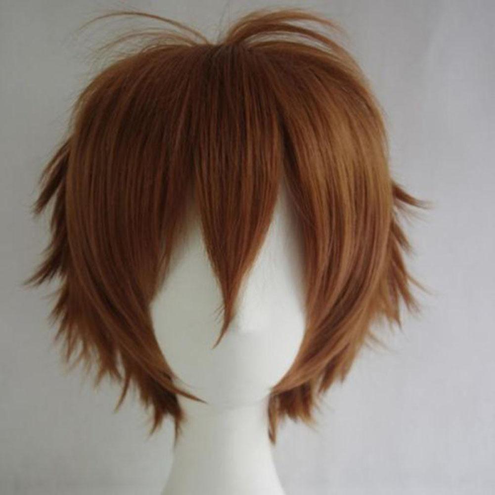 Unisex men women straight short hair wig cosplay