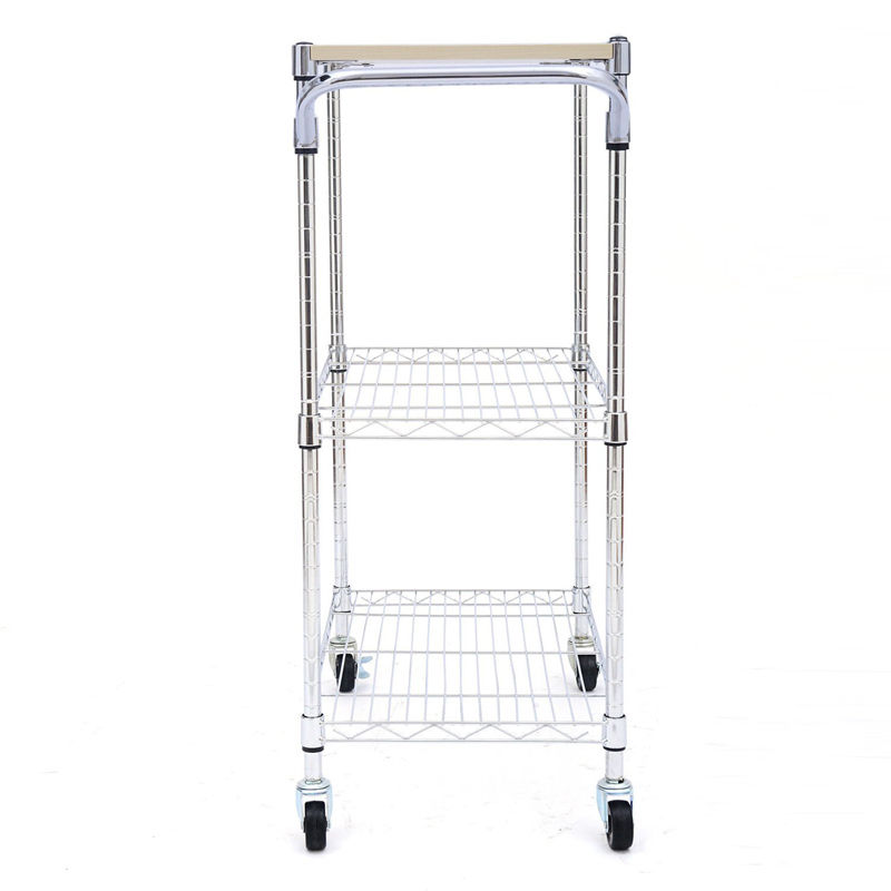 Chrom 3 Tier Kitchen Cart Trolley Wire Rolling Utility