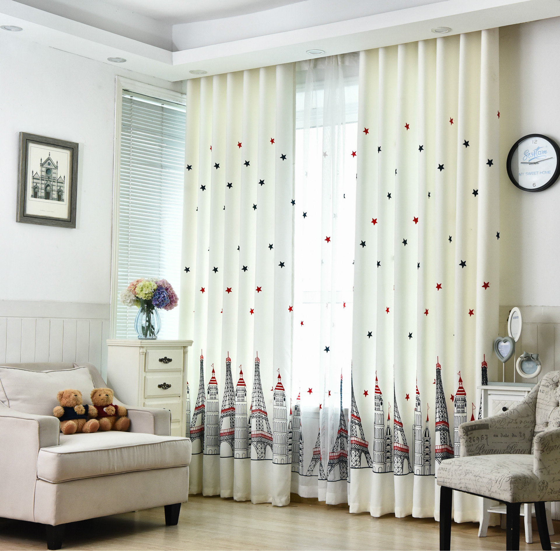 2 panels kids room castle embroidered window curtain drape for 12 x 72 window