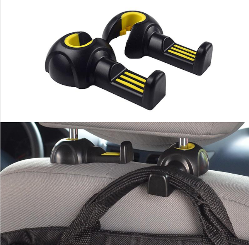 2pcs Universal Car Black And Blue Plastic Seat Hook Headrest Holder Hanging