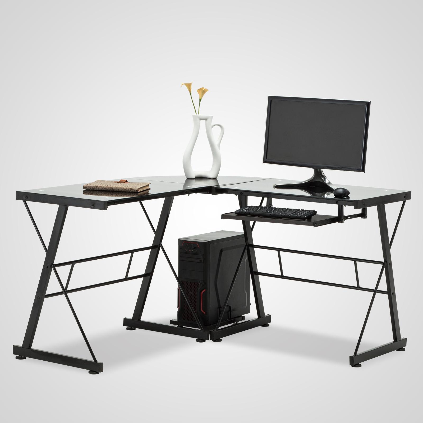 l shape corner black computer desk pc glass laptop table workstation home office ebay. Black Bedroom Furniture Sets. Home Design Ideas