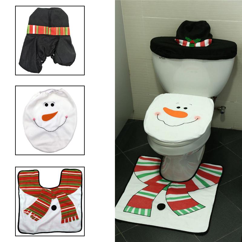 2x weihnachtsdeko weihnachten toiletten sitzbezug deckel teppich badzimmer matte ebay. Black Bedroom Furniture Sets. Home Design Ideas