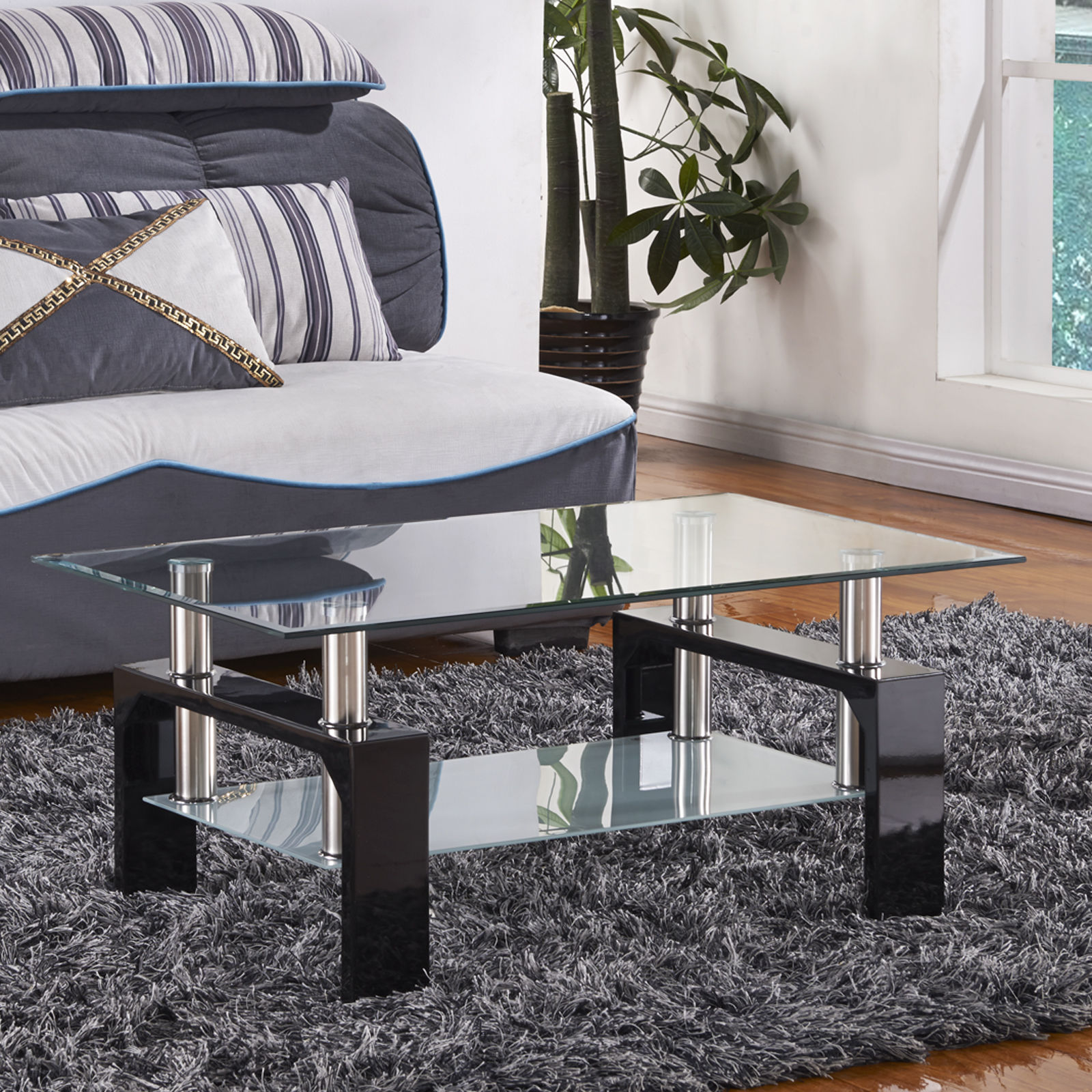 Design Glass Top Black Legs Coffee Table Rectangular