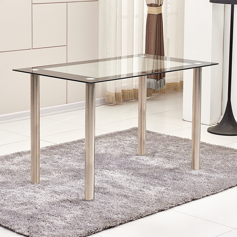 Dining Room Table Bases Metal: Black Tempered Glass Dining Table Stainless Steel Metal