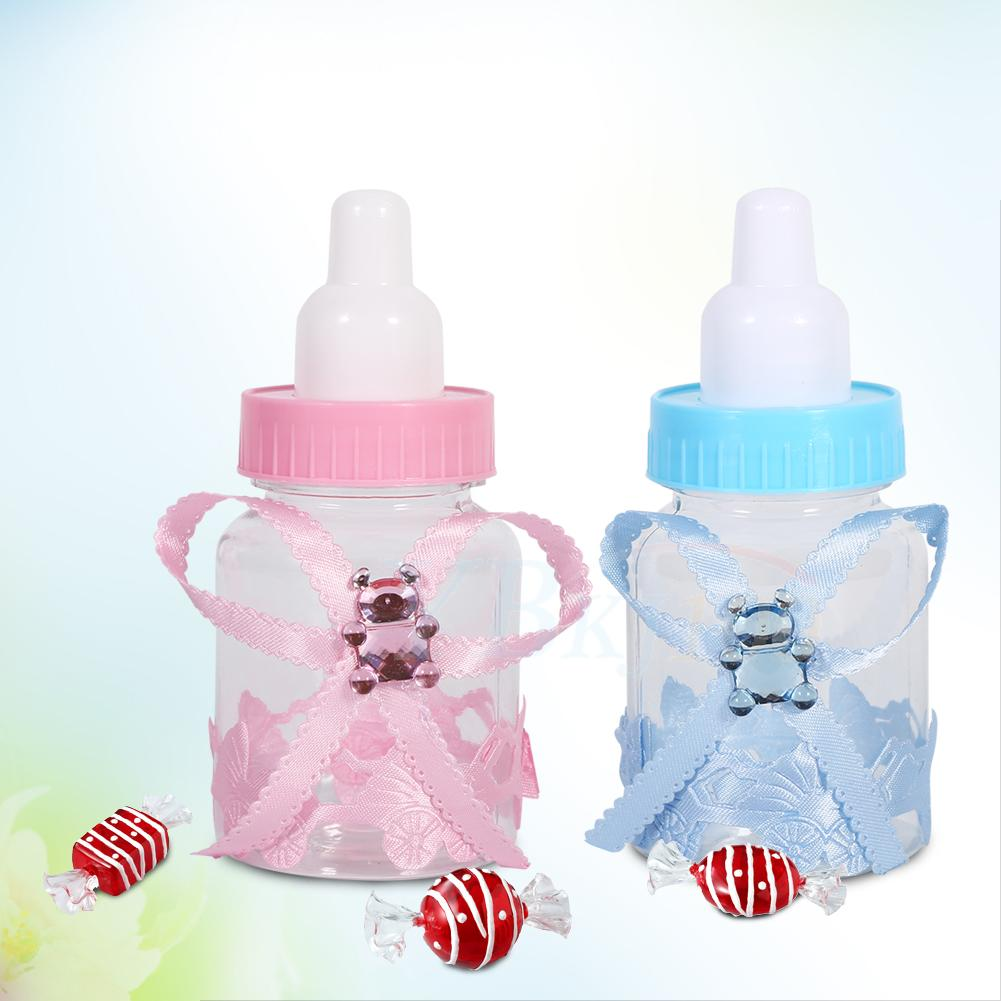 50pcs blue pink small feeding bottle christening baby for Baby bottle decoration