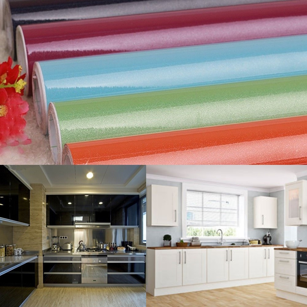 Yazi self adhesive kitchen cupboard door cover waterproof for Adhesive covering for kitchen cabinets