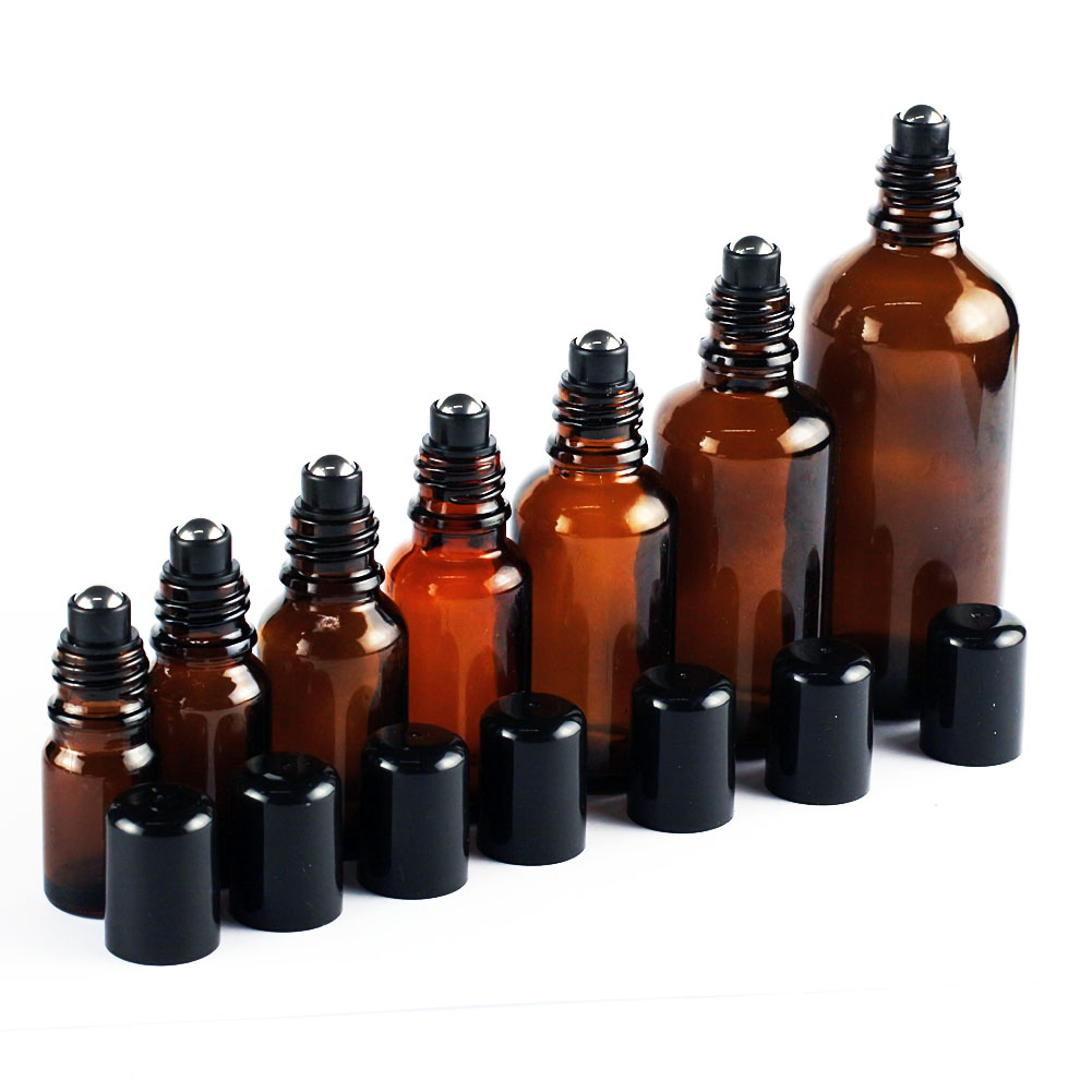 5ml 100ml Stainless Steel Metal Roll On Bottles Amber